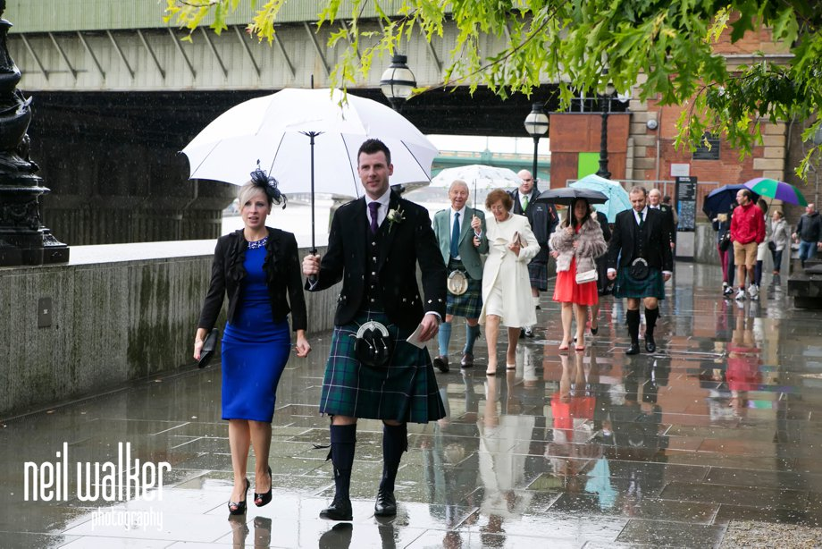 wedding in the rain in London
