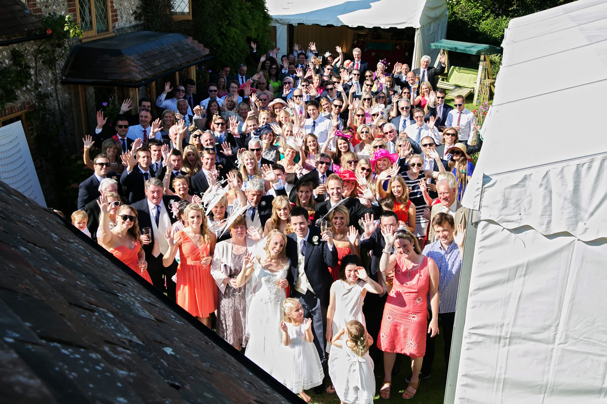 a big group shot of everyone at the wedding