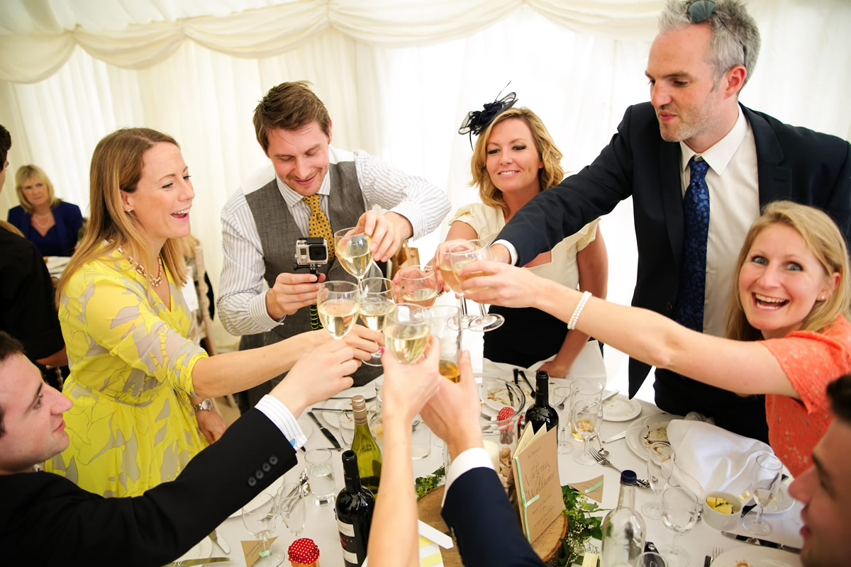 guests toasting the bride & groom