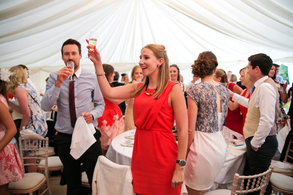 guests raise a toast to the wedding couple