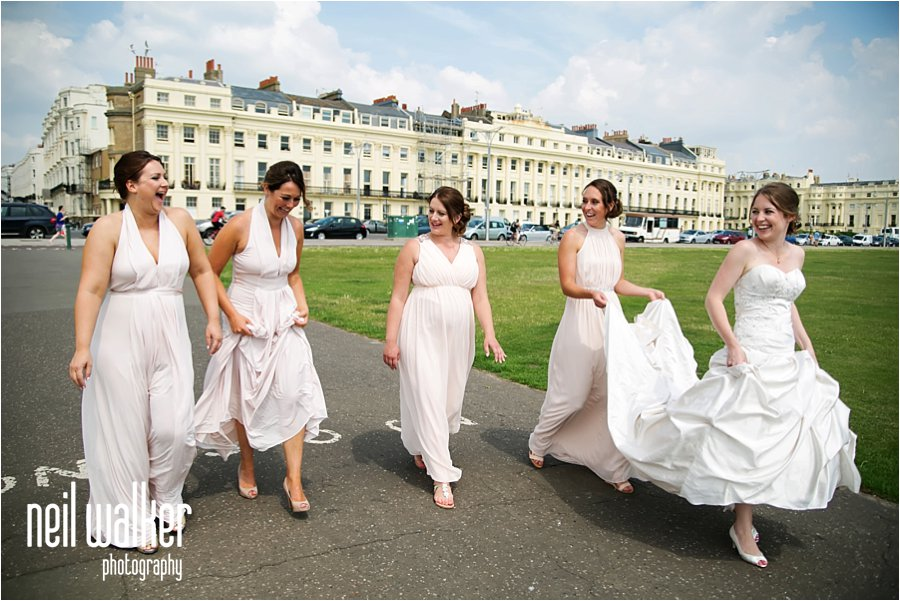 Brighton seafront bride bridesmaids summer sunshine