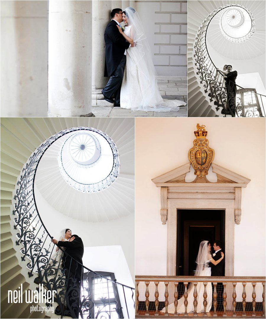 A bride and groom at the Queens House in Greenwich