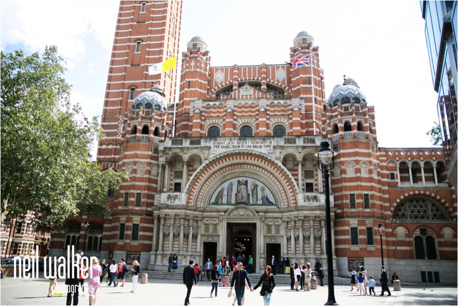 The front of Westminster Cathedral in London before a wedding