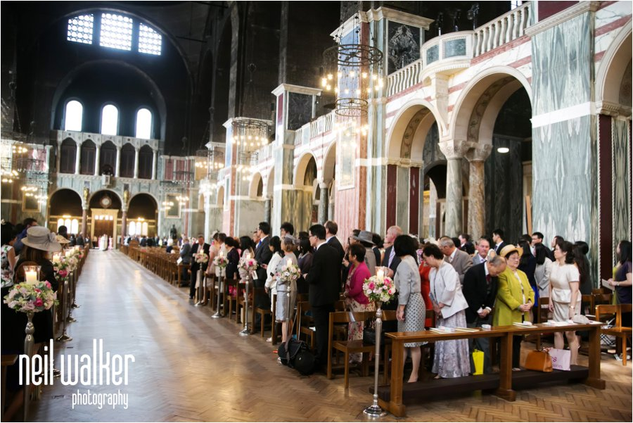 The inside of Westminster Cathedral before a wedding