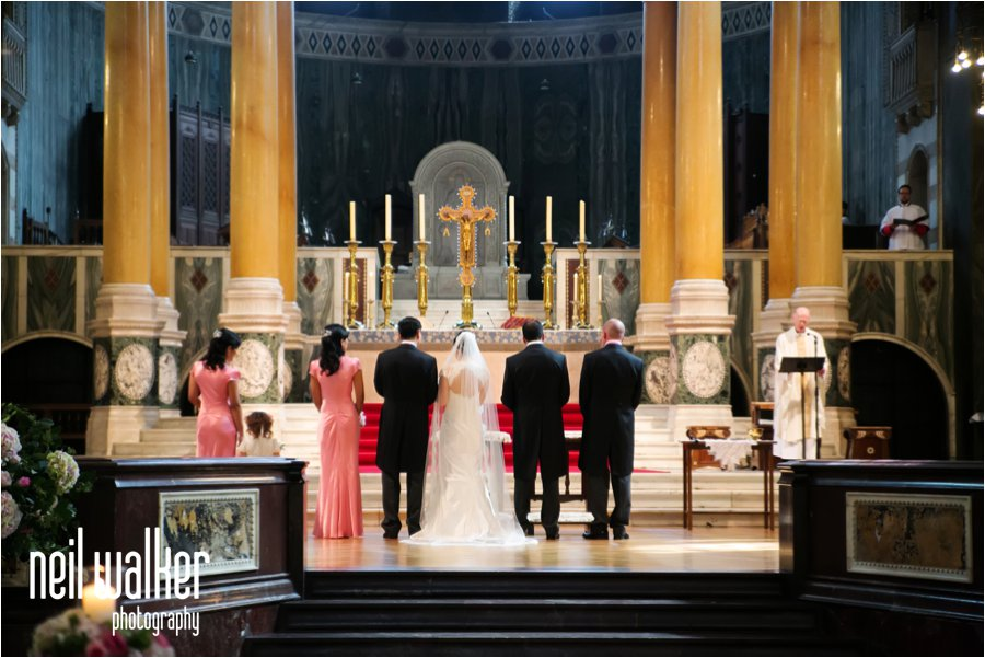 The inside of Westminster Cathedral during a wedding
