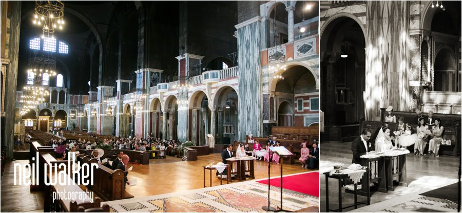 The inside of Westminster Cathedral in London during a wedding
