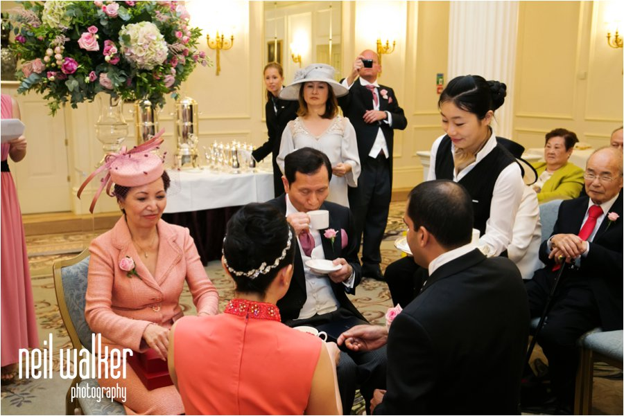 A Chinese tea ceremony in the Savoy Hotel in London