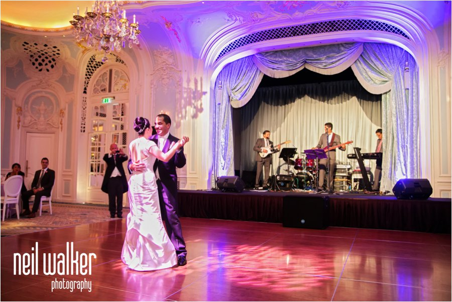 A bride & groom's first dance at their wedding at the Savoy Hotel in London