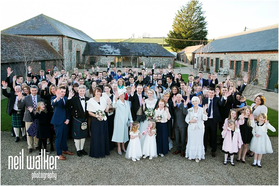 A big group shot of guests at a wedding at Farbridge