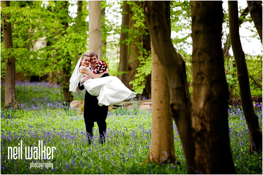 A spring wedding with bluebells at Horsted Place