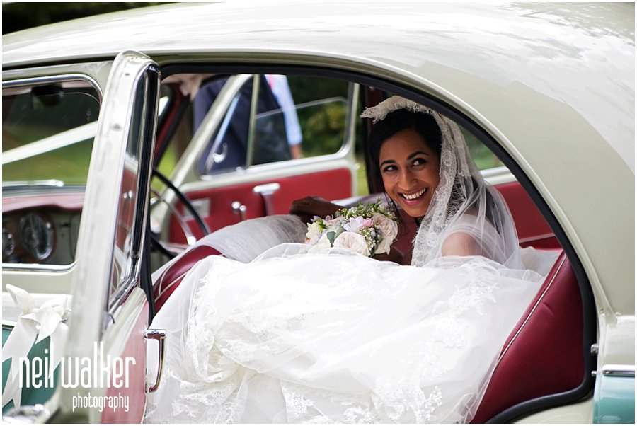 a bride arriving at church