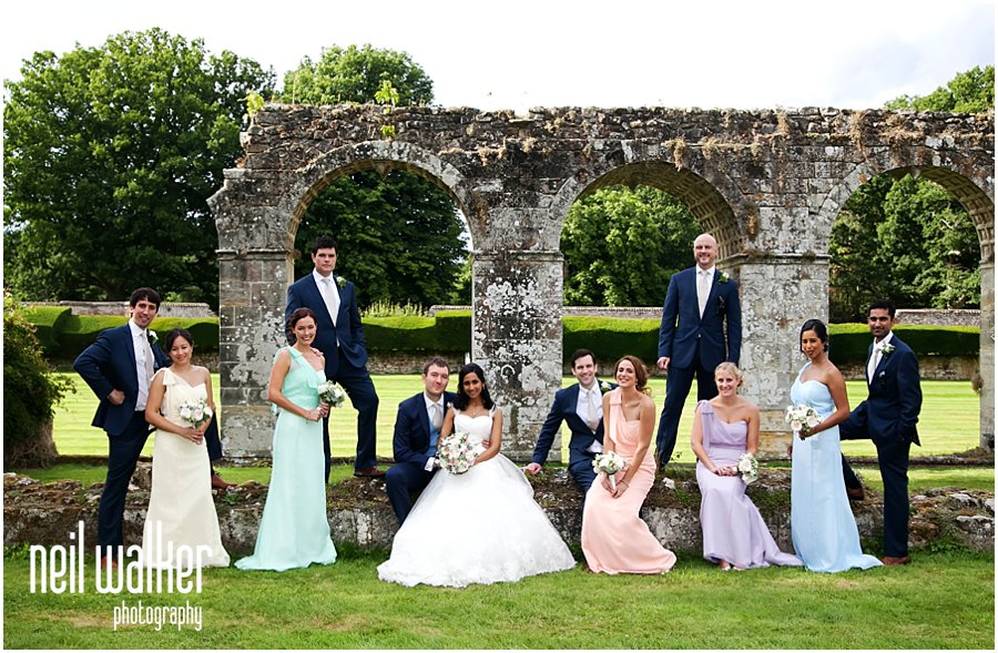a wedding party group shot