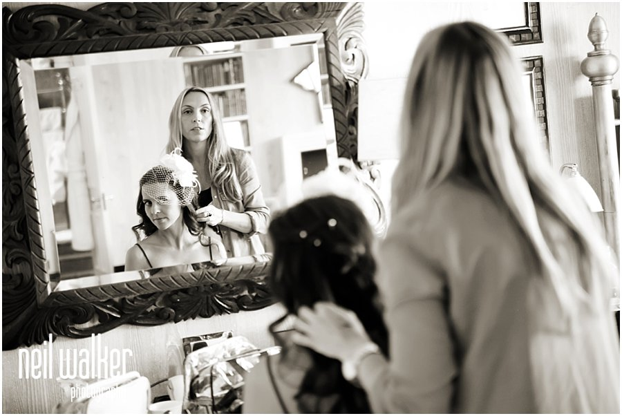 a bride getting ready at a London wedding