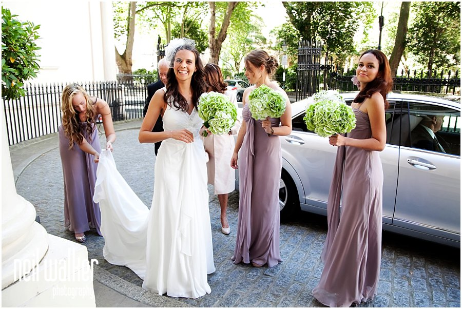 The bride & bridesmaids arriving at a London wedding