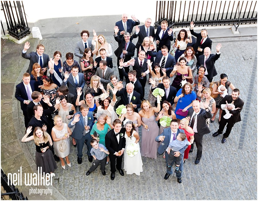 A big group shot at a wedding at the ICA in London