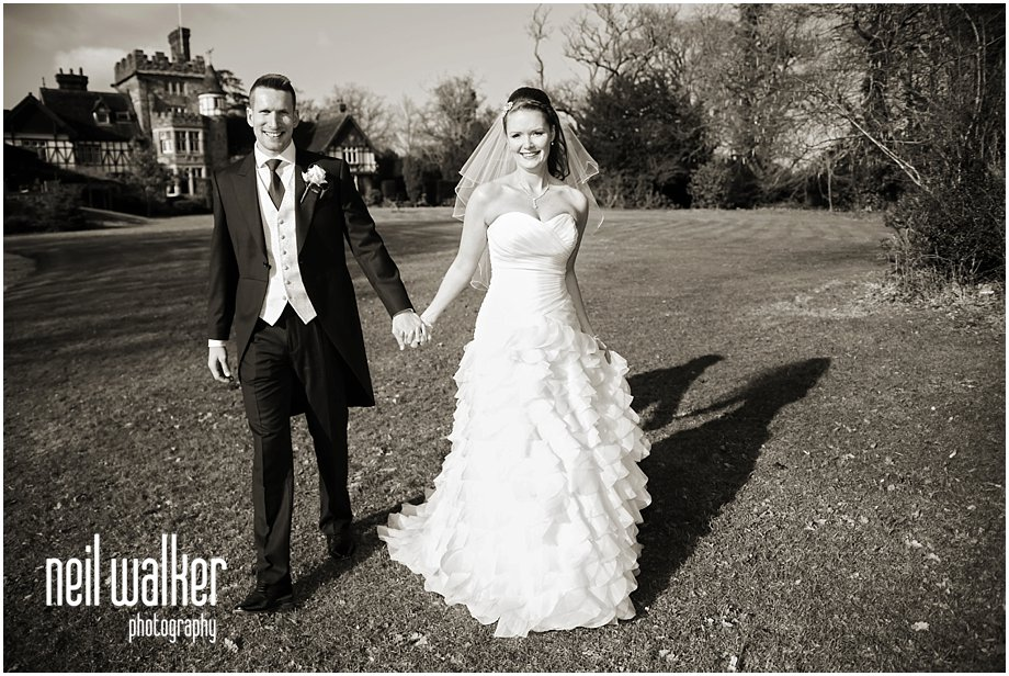 A bride & groom at their wedding at The Ravenswood in Sussex