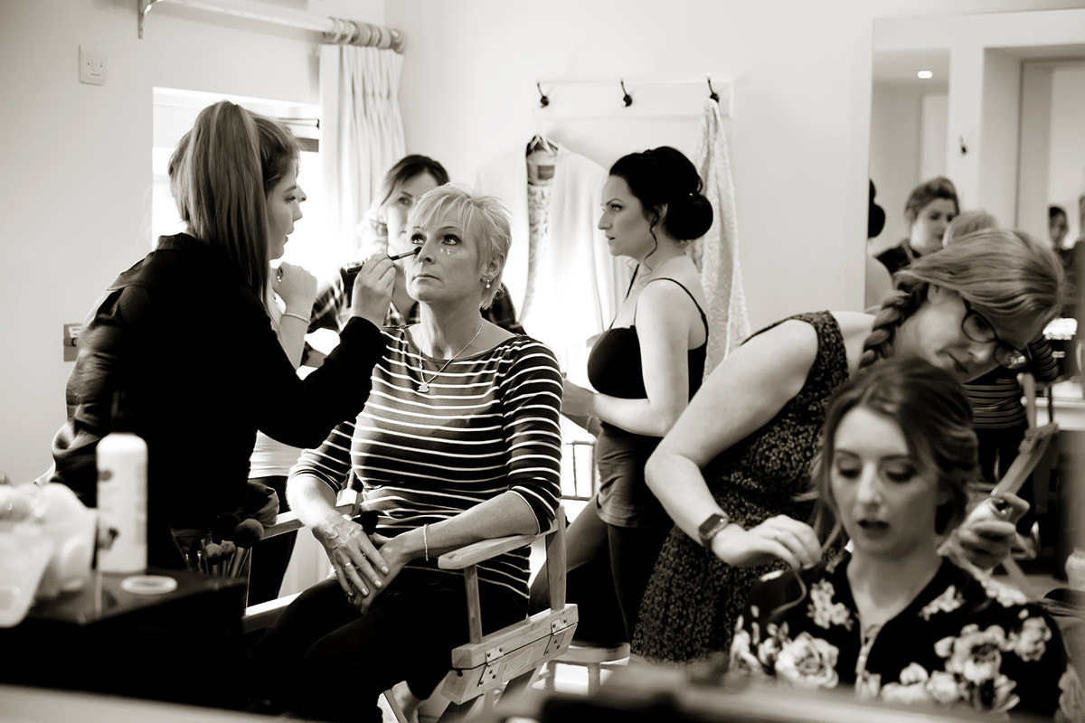 makeup being done in the bridal suite at Farbridge