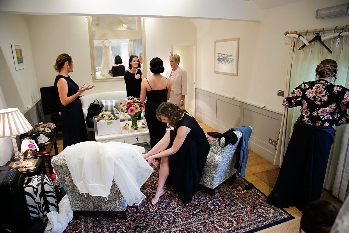 the bridesmaids in the bridal suite at Farbridge