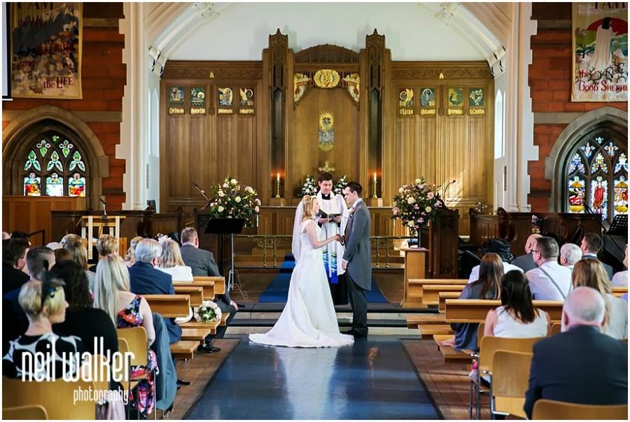 a bride & groom in church