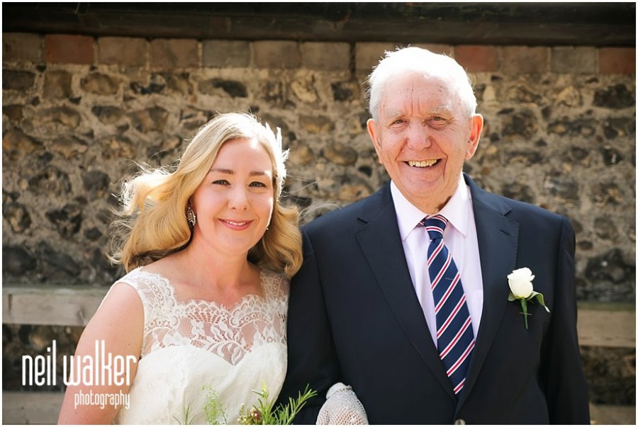 a bride & her father in Sussex