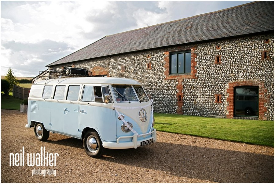 A VW camper at a wedding in Sussex