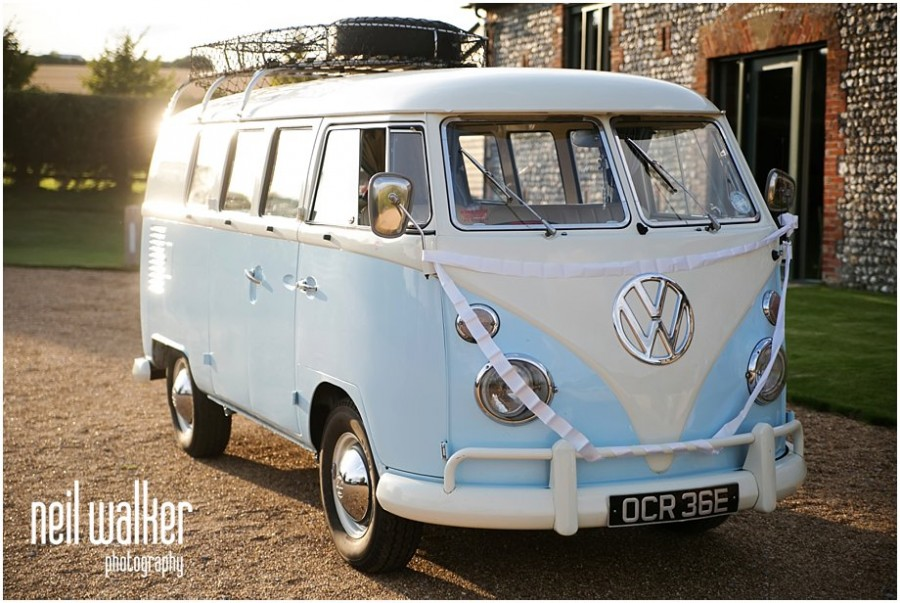 VW camper at a Sussex wedding