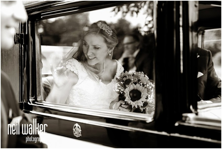 A bride arriving for her wedding at Pembroke Lodge in Richmond Park