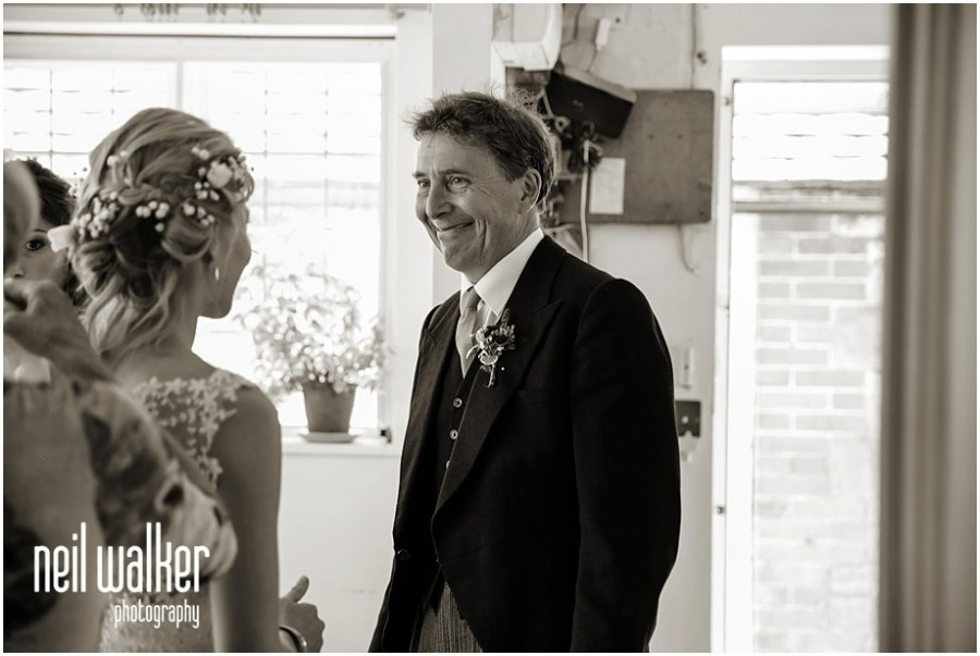 Sussex father seeing his daughter in her wedding dress for the first time