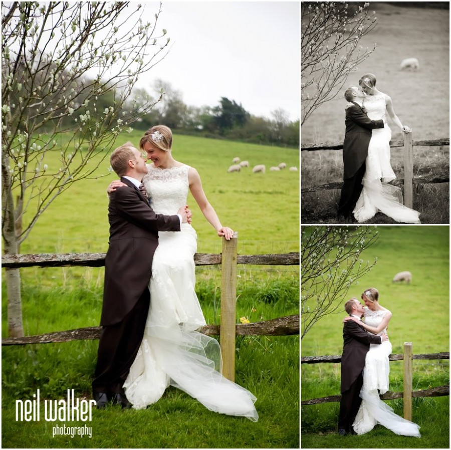 A bride & groom at a wedding at Upwaltham Barns in Sussex