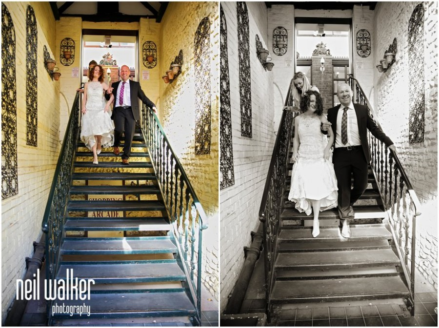 the bride & her father leaving the wedding dress boutique to go to Arundel Town Hall for the wedding ceremony