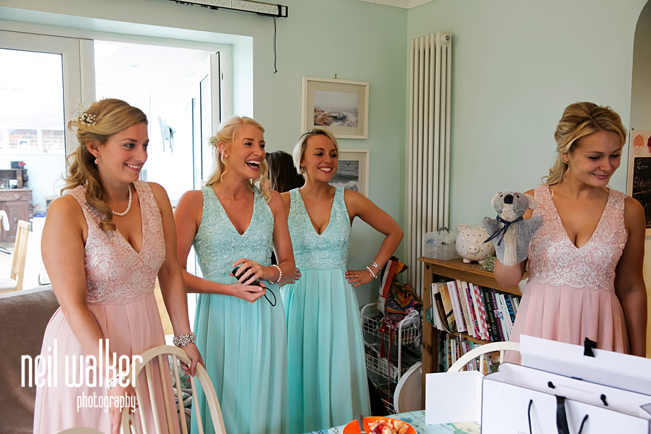 the bridesmaids talking