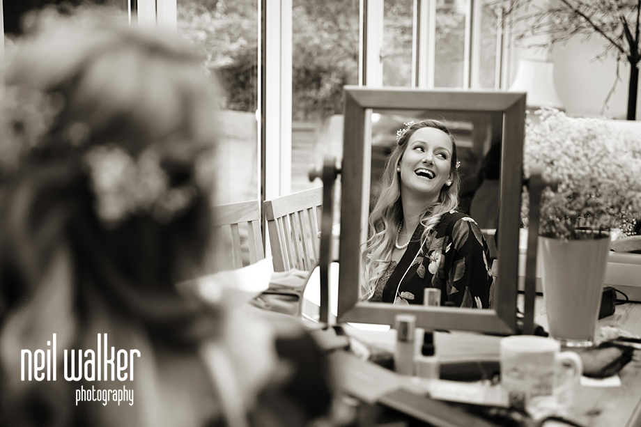 the bride reflected in the mirror