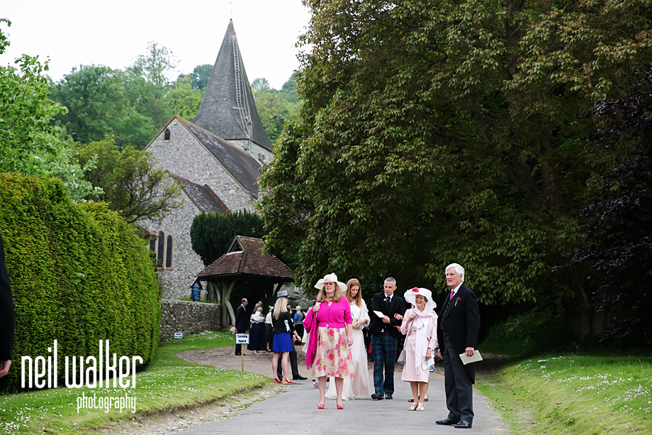 guests walking away from the church