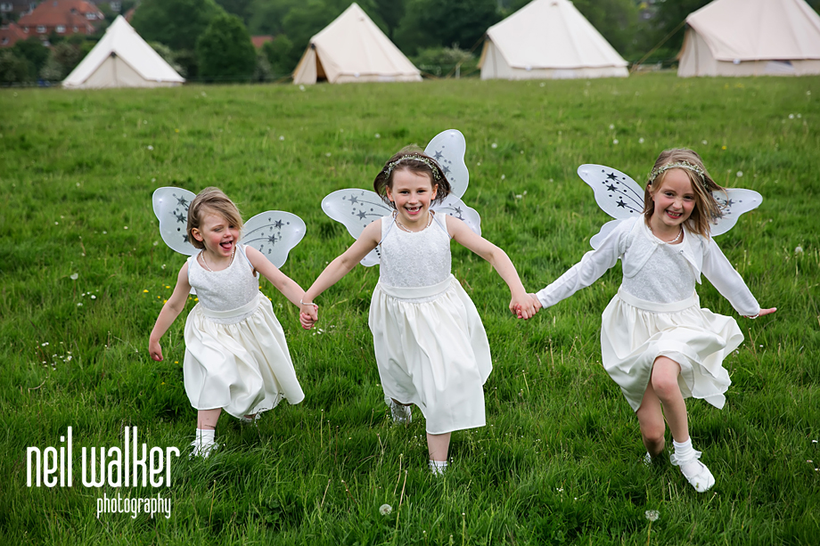 flower girls laughing