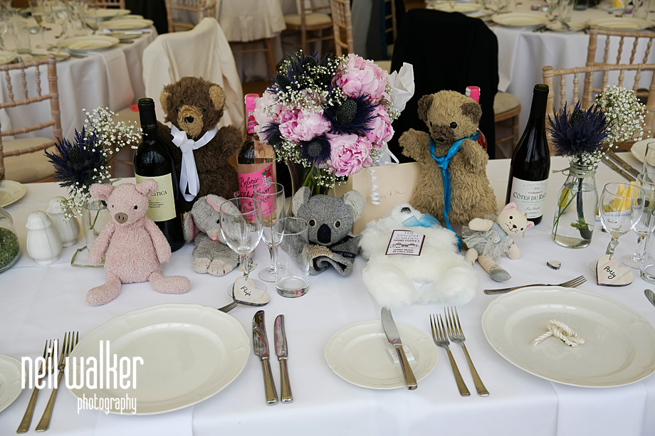 cuddly toys on the tables