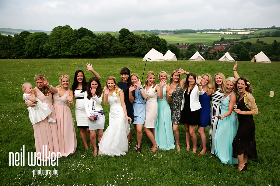 a group shot of all the bride's girl friends