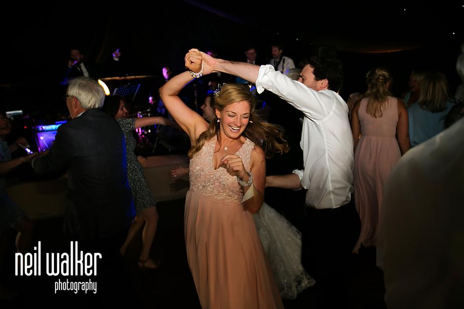 a bridesmaid dancing