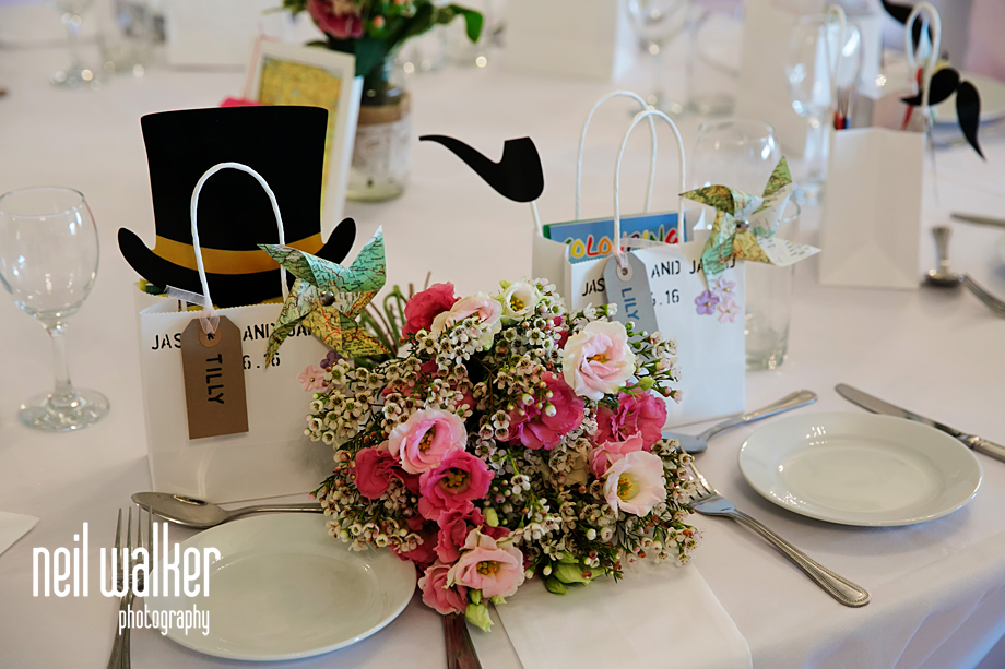 flowers at a place setting