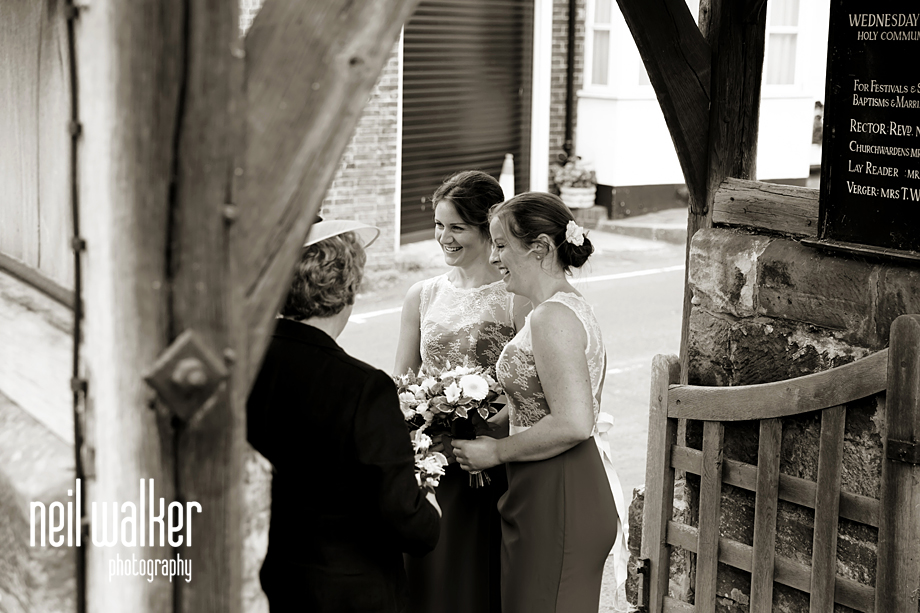 bridesmaids talking while they wait