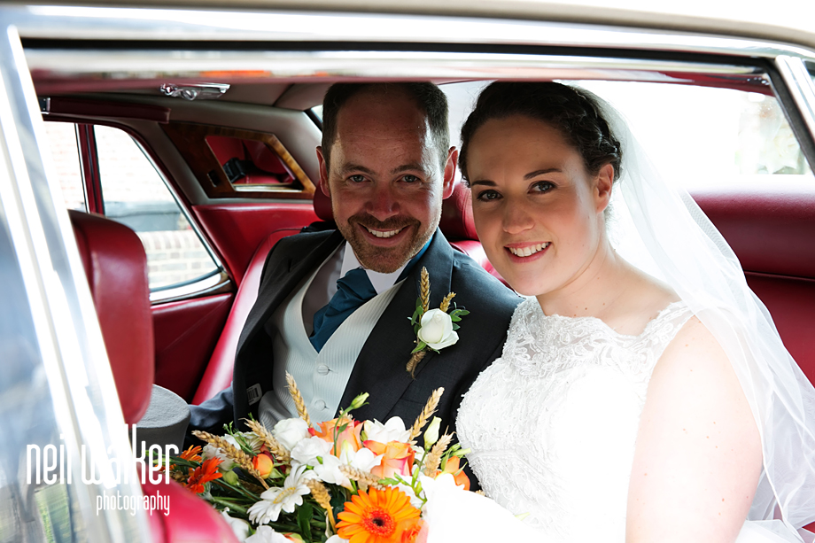 bride & groom in the car