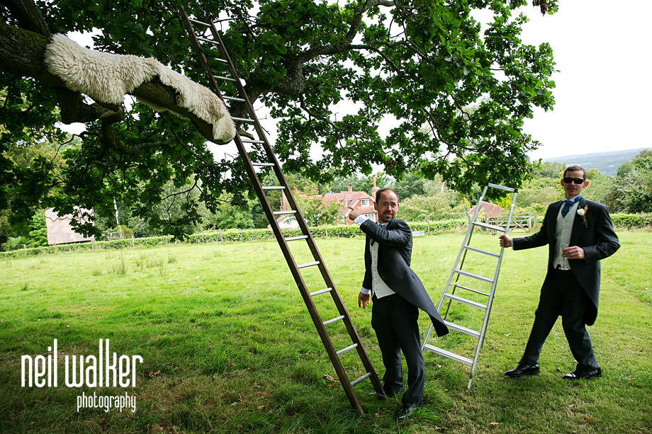 groom putting a ladder by a tree to climb