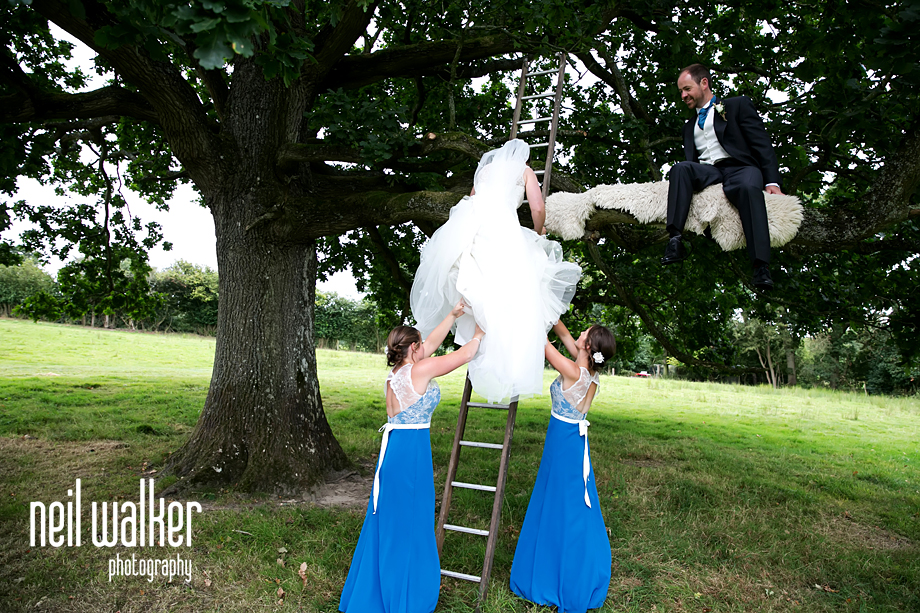 bridesmaids helping the bride to climb a ladder up a tree