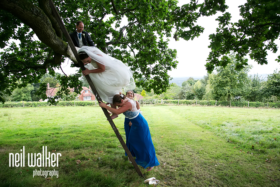 bride climbing down from the tree