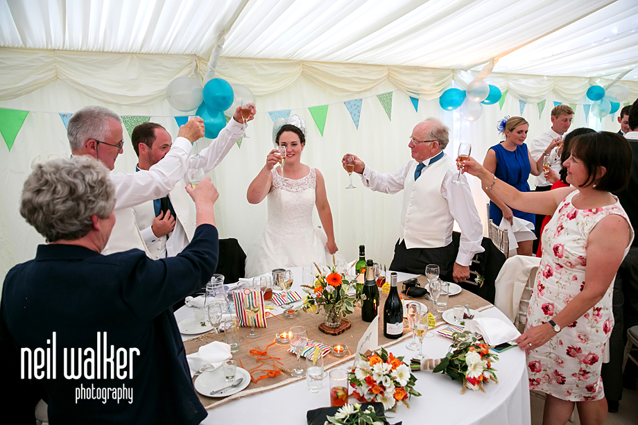 guests toasting wedding couple