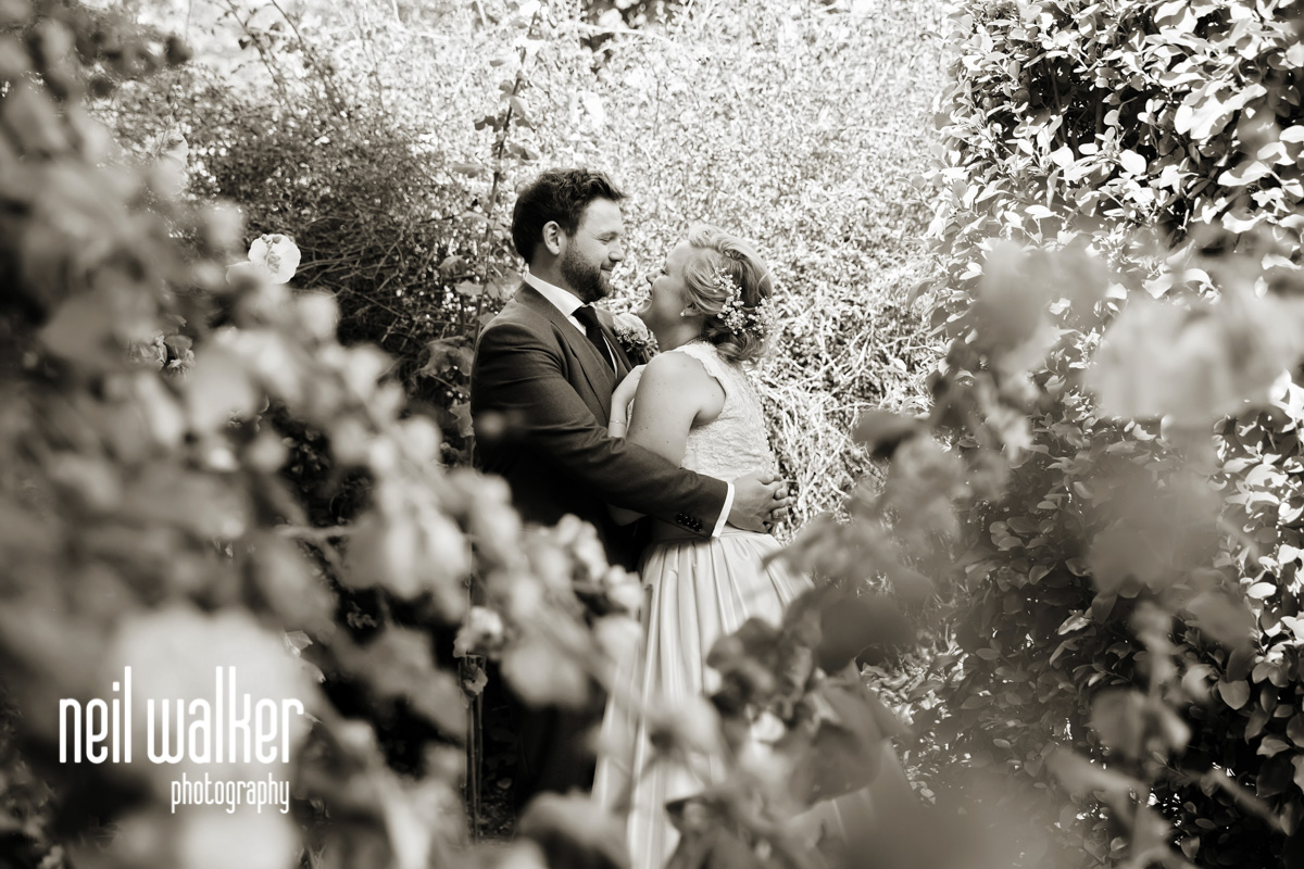 bride & groom through some flowers looking at each other