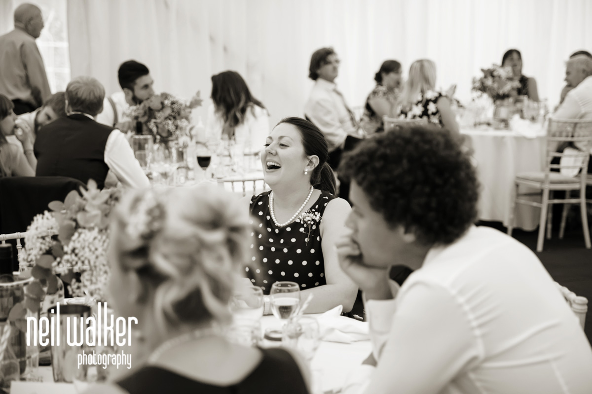 guests talking & laughing