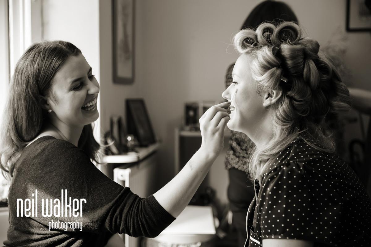 bride & makeup artist talking