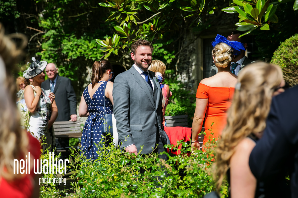 the groom arriving