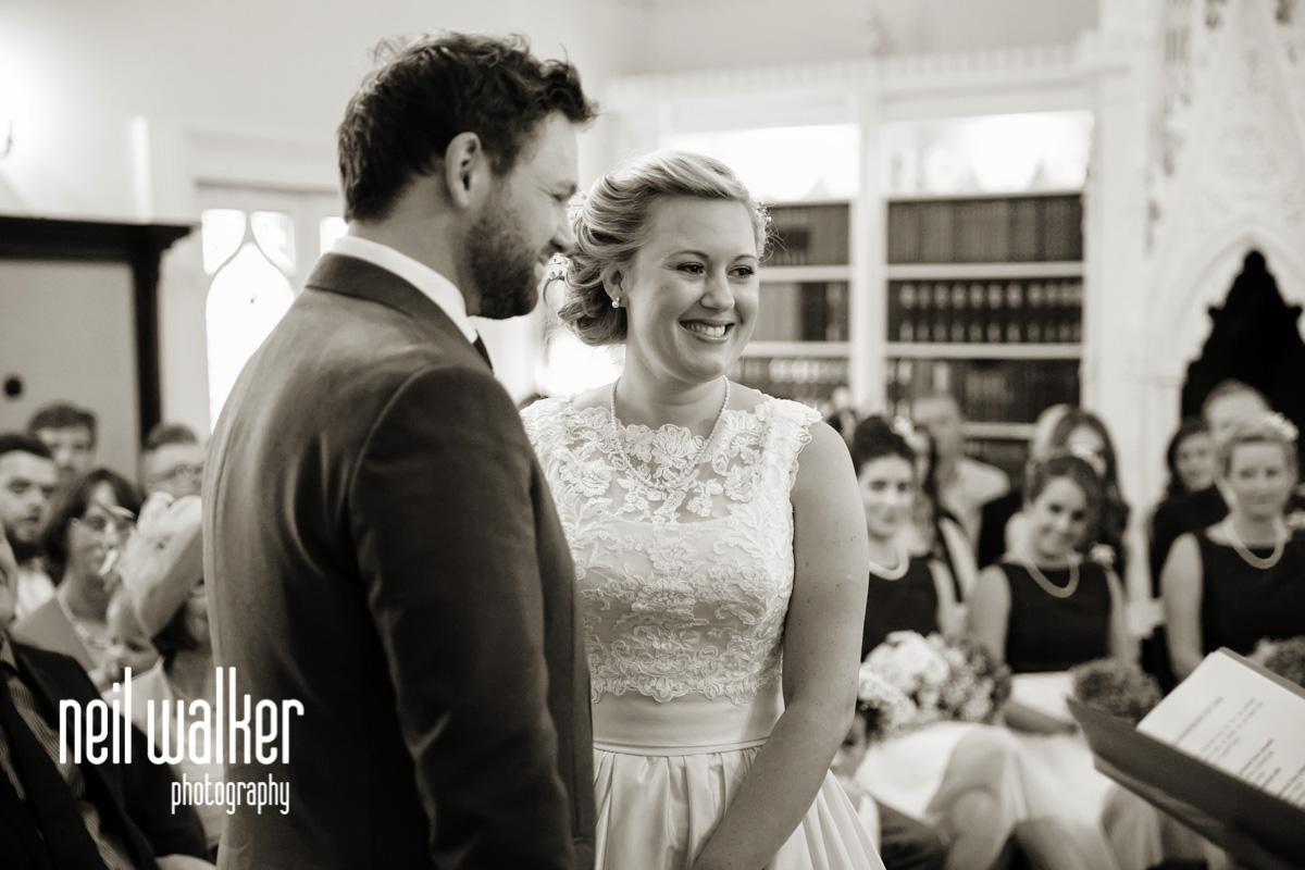 the bride & groom getting married
