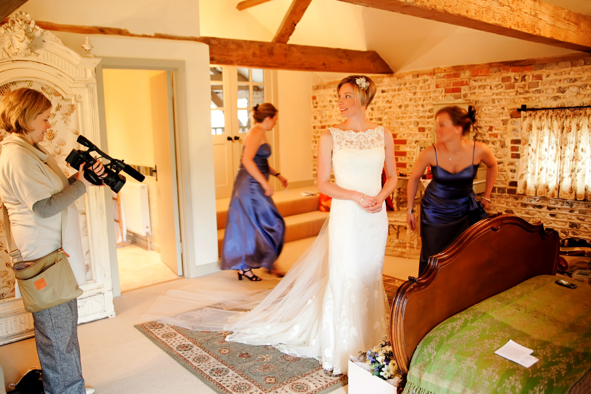 a bride in the Jasmine Cottage at Upwaltham Barns